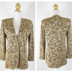 Vintage St John Gold Leaf Brocade Cardigan Sweater